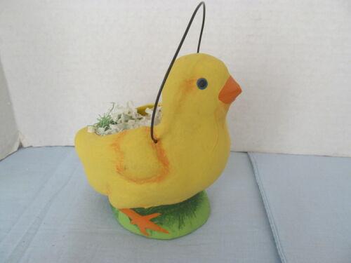 vtg paper mache chick yellow bucket
