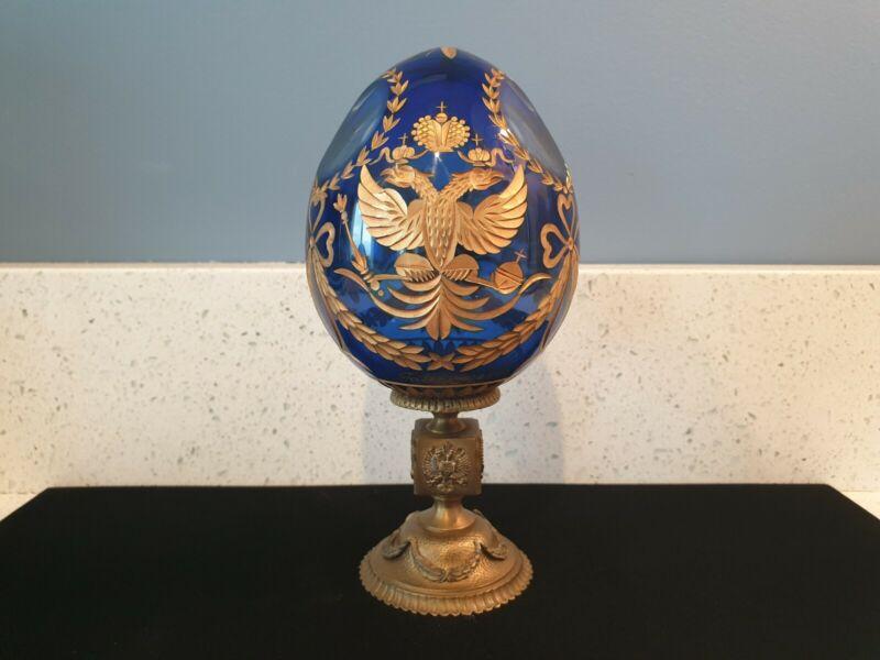 FABERGE Egg Russian Imperial Eagle 24K Tsar Crystal Bronze Base Signed Box COA