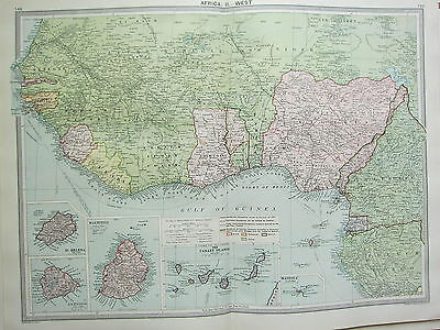 1920 LARGE MAP ~ AFRICA WEST ~ NIGERIA CAMEROONS GOLD COAST St HELENA ASCENSION