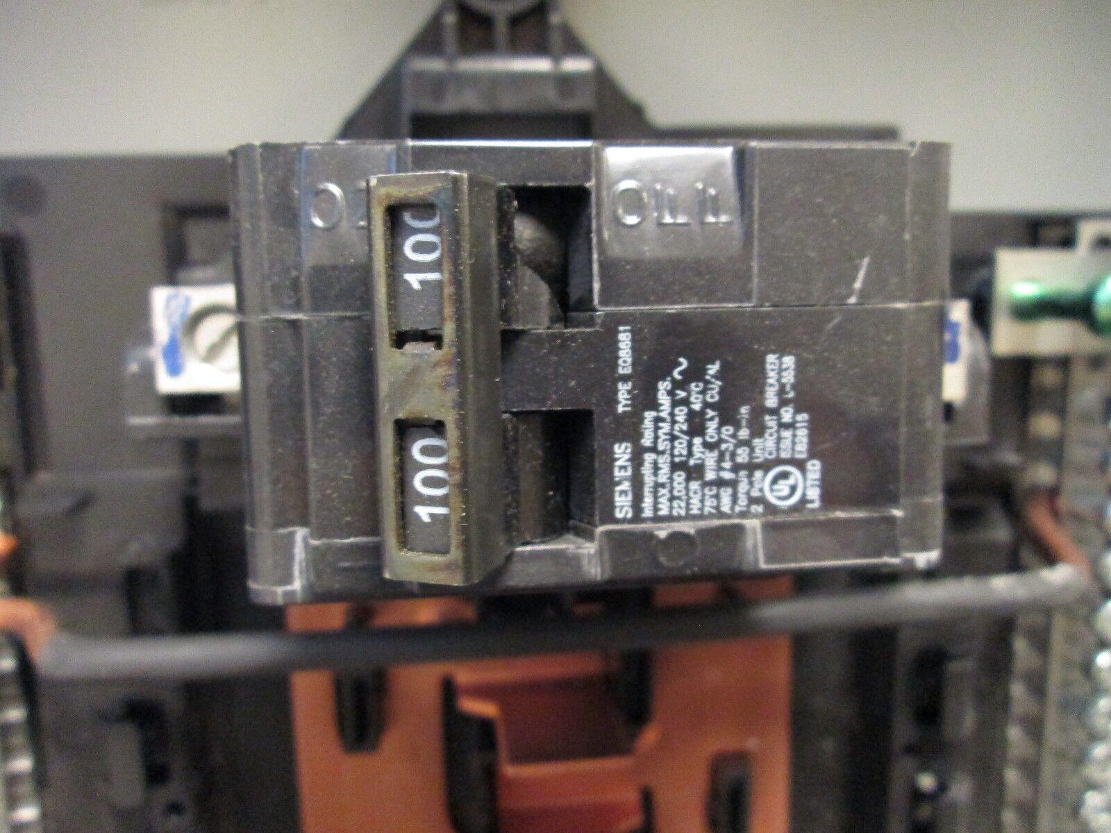 Siemens Main Circuit Breaker Panel 100a 120 240v 1ph 3w New Diagram Of Pushmatic Wiring Surplus 2 4
