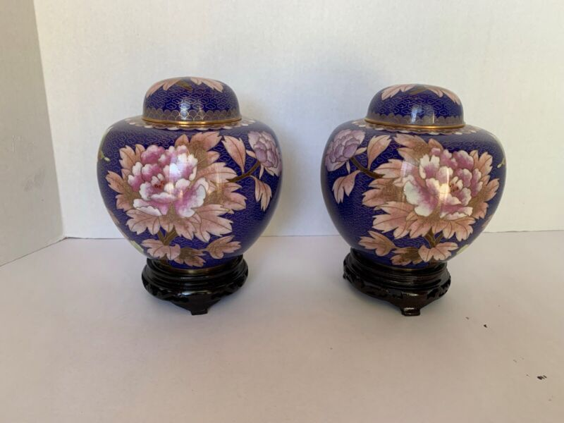 PAIR OF NEW CLOISONNÉ GINGER JARS INCLUDES CARVED STANDS, LIDS. 6 IN X 6 IN