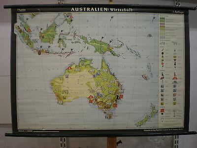 Schulwandkarte Wandkarte Australien Neuseeland Wirtschaft Schafe Rinder 139x97c