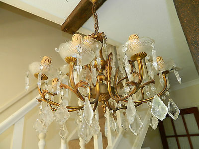 - French Brass/Bronze Two tier Crystal 12-Lights Chandelier