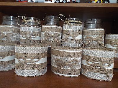 10 Burlap Mason Jar Sleeves, DIY Wedding Decorations, Rustic Wedding Decorations ()