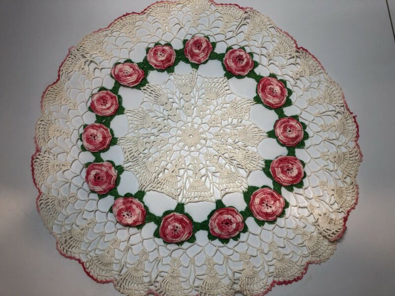 Large Crocheted Table Doily with Pink Roses