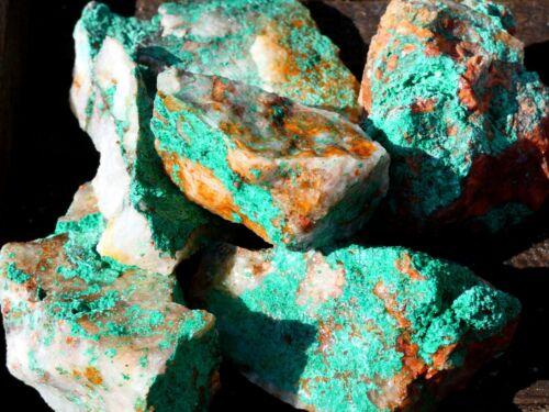Natural MALACHITE ON QUARTZ Rough - 2000 CARAT Lot- Specimen Rocks- Lapidary