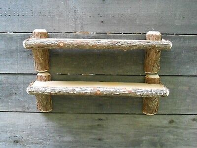 Rustic Cedar Log Cabin Shelves Cabin Camp Decor Set of 2 Bathroom Shelving