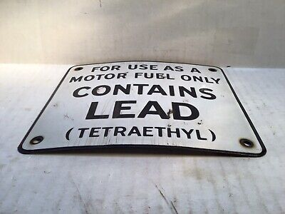 Vintage Lead Gas Pump Porcelain Curved Sign Can Oil Plate rare tin Shell Mobil 4