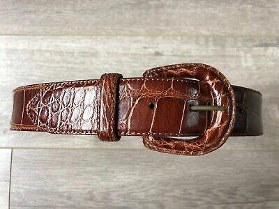 Vintage Ralph Lauren Polo Genuine American Alligator Leather Brown Belt 28 Italy