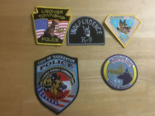 LOT OF 5  DIFFERENT  K-9 SHOULDER PATCHES S007