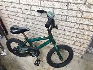 Bike with training wheels and helmet  suitable for age 4-7