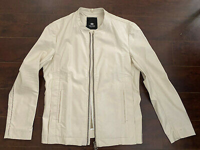 BNWT TOM REBL Men's Off-White Biker Jacket – US 40 (EU 50)