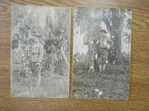 2 Pre 1912 Post Spanish American War Era Real Photo German Postcards US Soldier