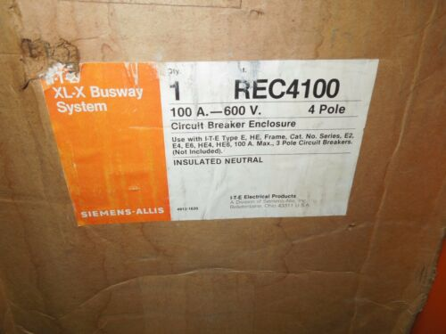 Siemens Rec4100 100a 3ph 4w 600v Ite Xl-x Busway System Plug Enclosure Surplus