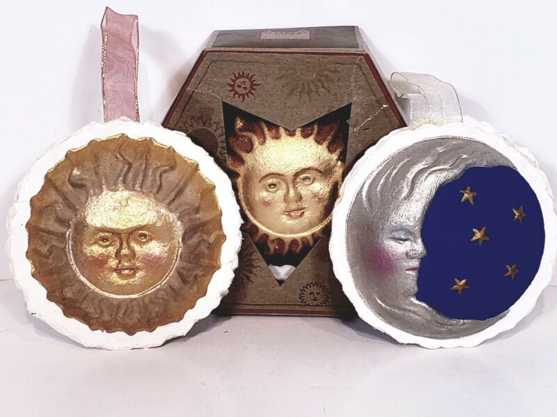 Pressed Paper Radiant Sun & Silvery Moon Decorative Ornaments Lot Of 3