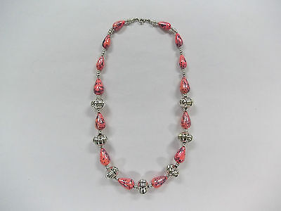 Vintage Look Pink & Silver Large & Small Beaded Necklace Very Nice!