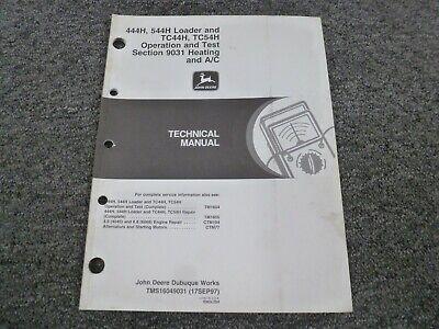John Deere 444h 544h Loader Tc44h Tc54h Tool Carrier Hvac Operation Test Manual