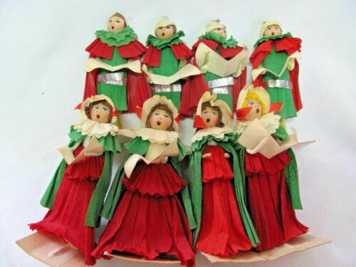 Rare Vintage Set 8 Crepe Paper Wood Chenille Carolers Christmas Red & Green