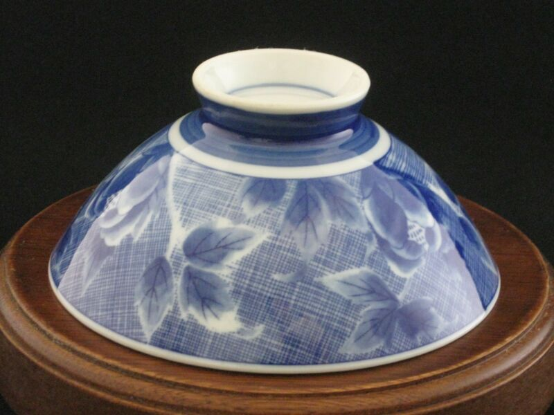 Hand Pinted Fine Porcelain Cobalt Blue Rice Bowl Japan