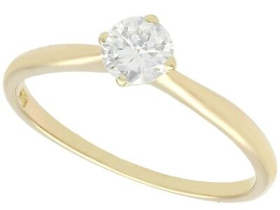 0.40 ct Diamond and 14 ct Yellow Gold Solitaire Ring - Vintage Circa 1940