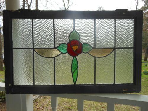 """GOH-259G Lovely Transom Style """"English ROSE"""" Leaded Stained Glass Window 37 X 22"""