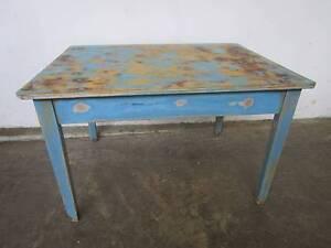 C52009 Gorgeous Vintage Rustic Blue Kitchen Dining Table Unley Unley Area Preview