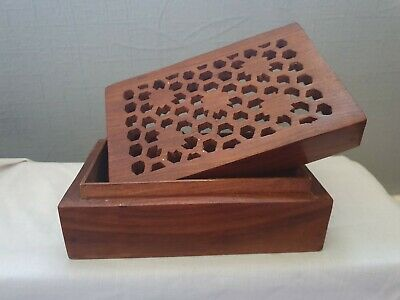 Vintage carved wooden box treen ware