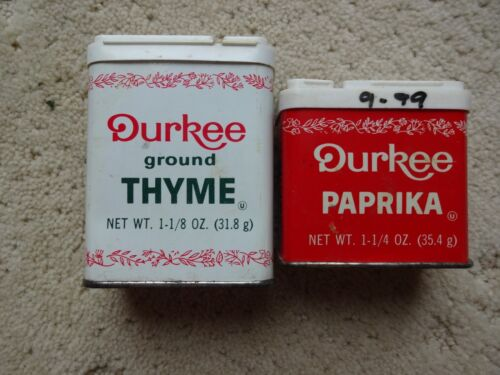 Lot of 2 Vintage Durkee Spice Tins Includes Thyme & Paprika