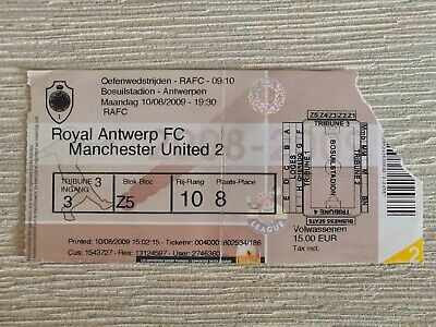 Ticket Royal Antwerp FC - Manchester United 2009 Friendly Amicale Oefen