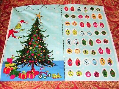 How the Grinch Stole Christmas Advent Calendar Fabric Panel By Robert Kaufman