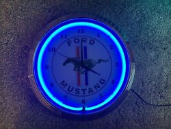 Ford Mustang Blue Neon Clock 15x15