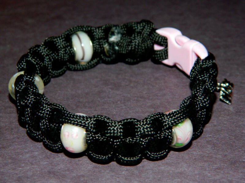 Handmade Breast Cancer Awareness Paracord Bracelet NEW European Charm Beads