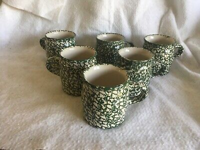 6 The Workshop of Gerald E. Henn Pottery Roseville Ohio Green Spongeware Mugs