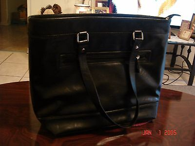 Franklin Covey Black Leather Laptop Case/Bag # 738160