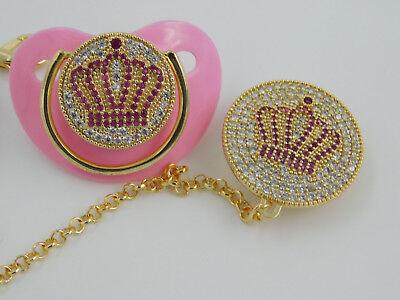 rosa Schnuller mit Schnullerkette+Clip Kristalle