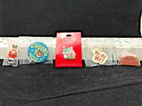Vintage 5 Hallmark Christmas Lapel Pins, New   P-17