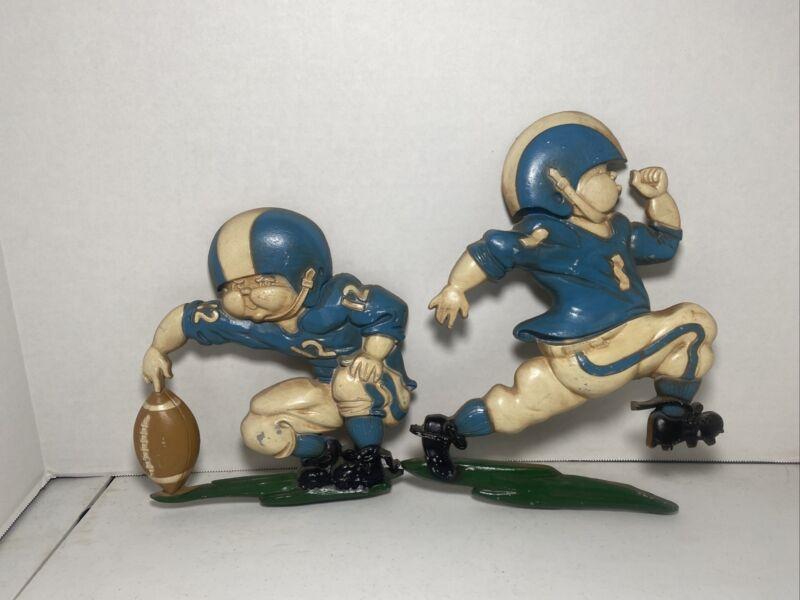 Vintage Football Players 1976  Decor Boys Room Blue White Nursery Metal Homco