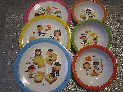 Kindergeschirr Set 12-teilig , 6  Teller + 6 Schalen, Baby-Kinder, Melamin