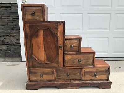 Vintage Japanese Step Chest Kaidan Tansu or Staircase Tansu Meiji Furniture
