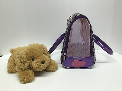 Barbie 2005 Plush Barking Puppy Dog with Pucci Pups Leopard Print Carrying Bag