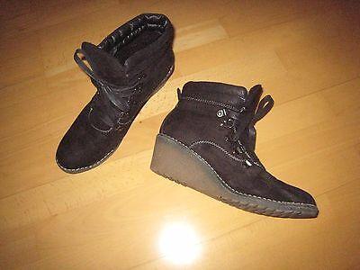 Damen, Gr. 41 schwarz Schnür-Stiefeletten/ Schnürboots/ Keilabsatz Schuhe