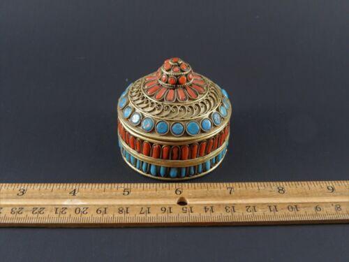 Antique or Vintage Chinese Sino Tibetan Coral Turquoise Brass Amulet Prayer Box