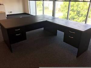 Large Black Desk with Return Meadowbrook Logan Area Preview