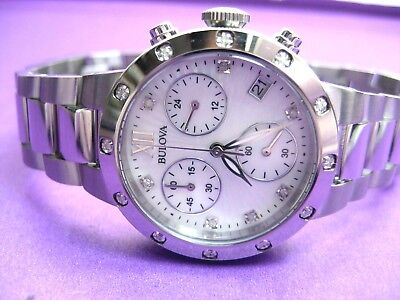 BULOVA 96R202 CHRONOGRAPH & DIAMOND LADIES CASUAL WATCH S/S MOTHER OF PEARL DIAL