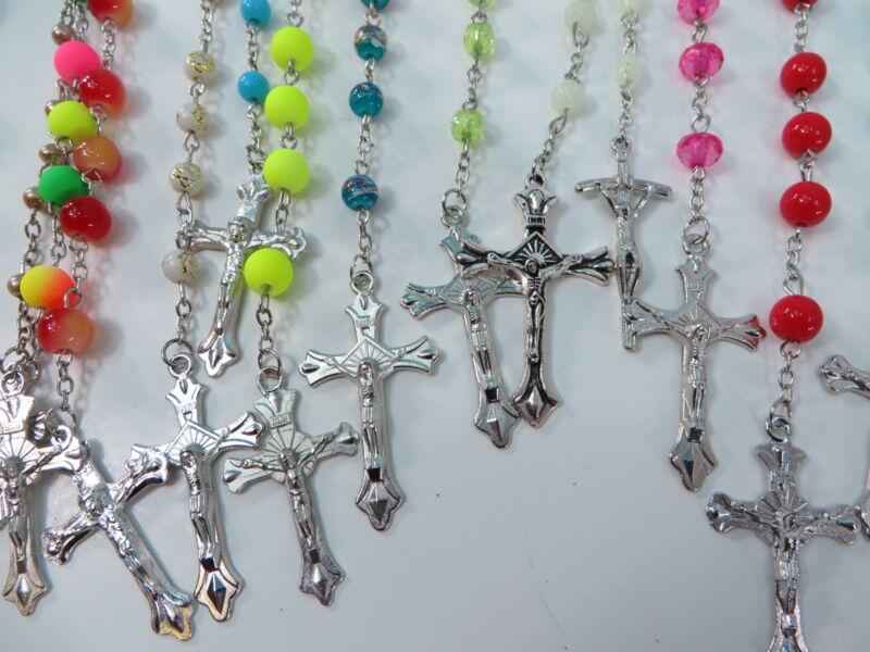 $1.25/p, 50 rosary necklaces wholesale Catholic Mary Crucifix cross