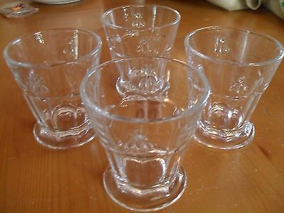 Set of 4 Bee Glasses Glass Tumblers 8 ounce