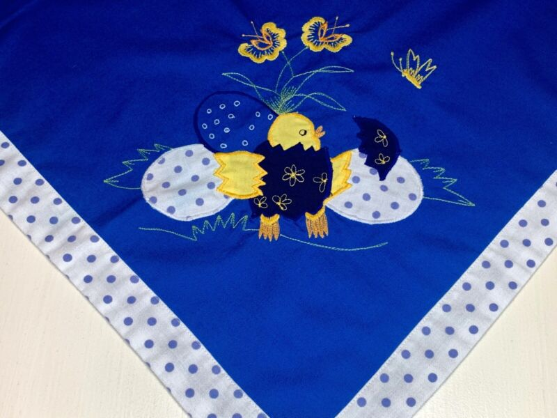 """30"""" Square Vintage German TABLE CLOTH DRESSER SCARF Bunny Rabbits Flowers Easter"""