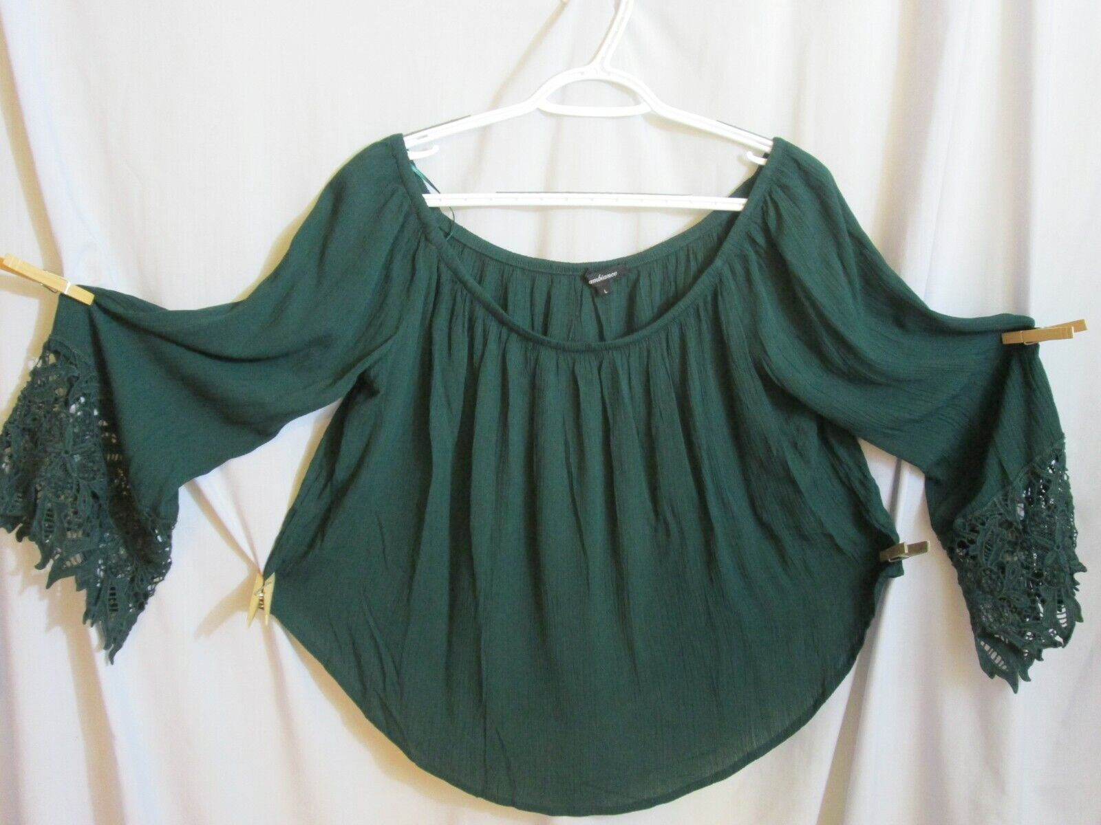 ambiance Peasant Top Shirt Blouse Forest Green Off