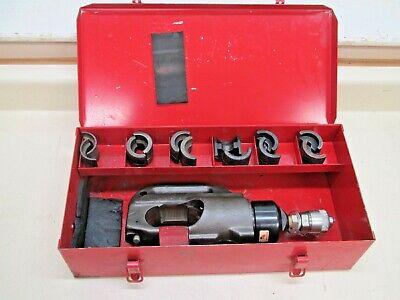 Alcoa Brock 14-htr 14 Ton Remote Hydraulic U Die Crimping Tool W 6 Die Sets
