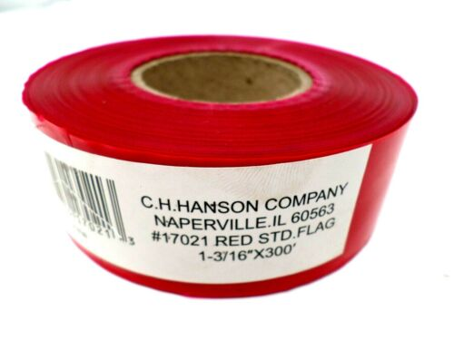C.H. Hanson 300 ft. x 1 3/16 in. Flagging Construction Surveyors Tape Red